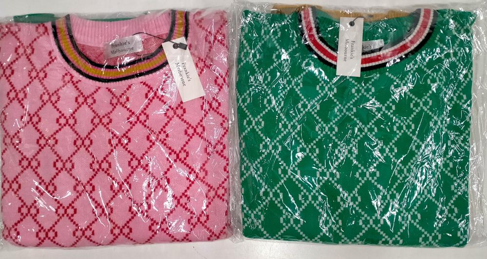 Two classic crew knit style tops marked Frankie's Melbourne One size; fits 8-14