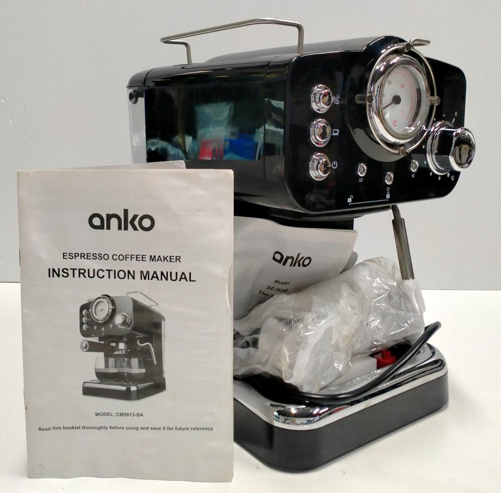 A 2nd hand espresso coffee maker marked Anko in original box