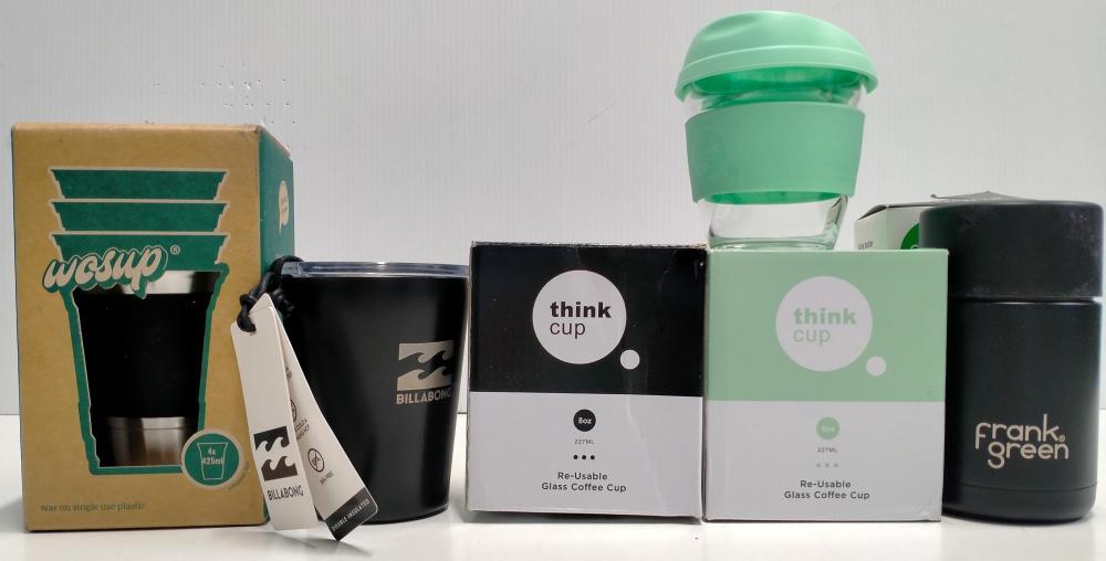 Five assorted designer re-useable cups marked Frank Green, Billabong etc.