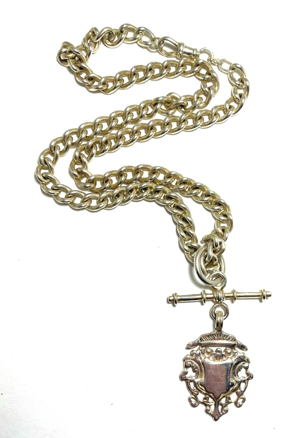 A Sterling Silver Curb Link Fob Chain with Shield