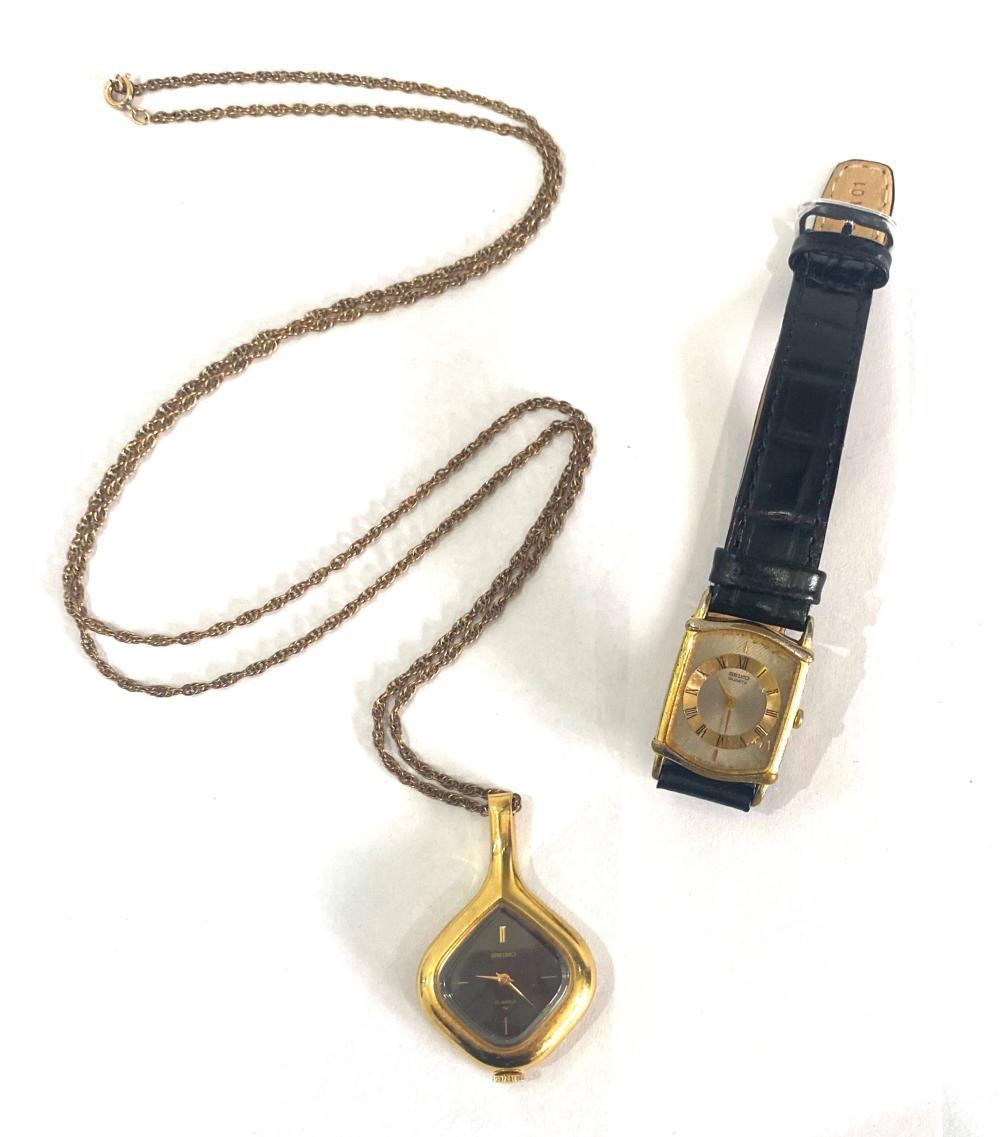 A Seiko Ladies Pendant Watch & a Wrist Watch