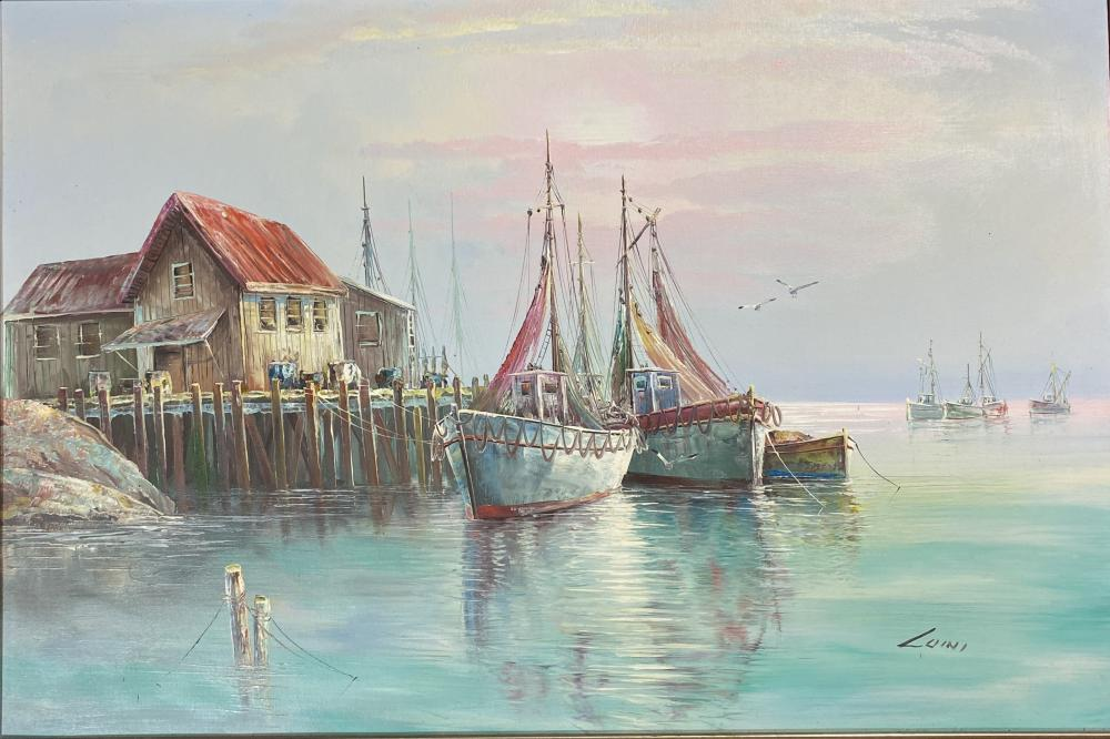 Artist Unknown , (20th Century), Moored Fishing Boats, Acrylic on canvas on board