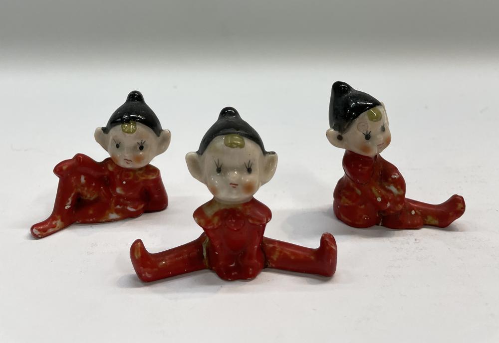 Three Japanese Porcelain Christmas Elf Figures