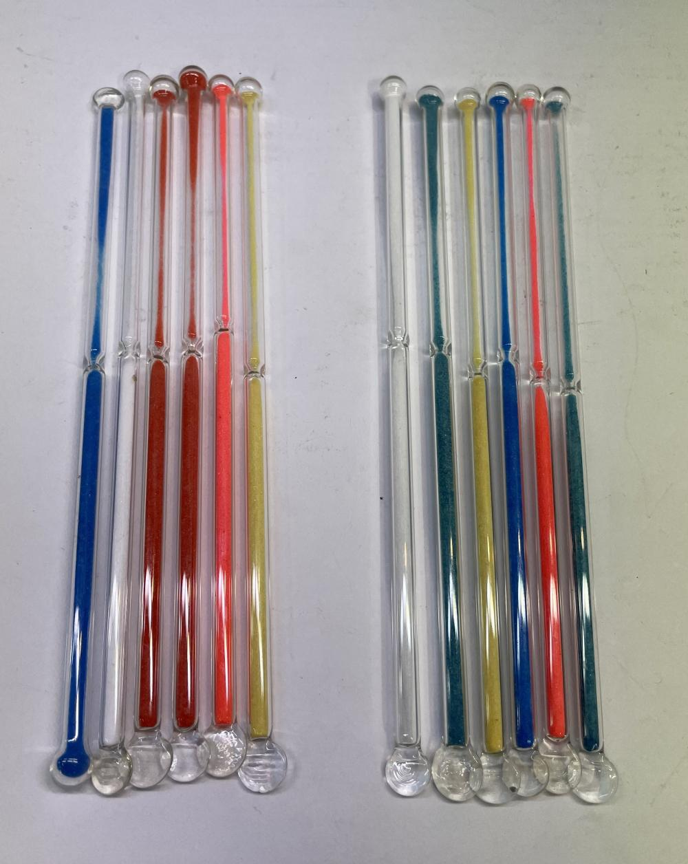 A Set of Vintage Glass Cocktail Stirrers with Working Coloured Sand Hourglass Novelty [10]