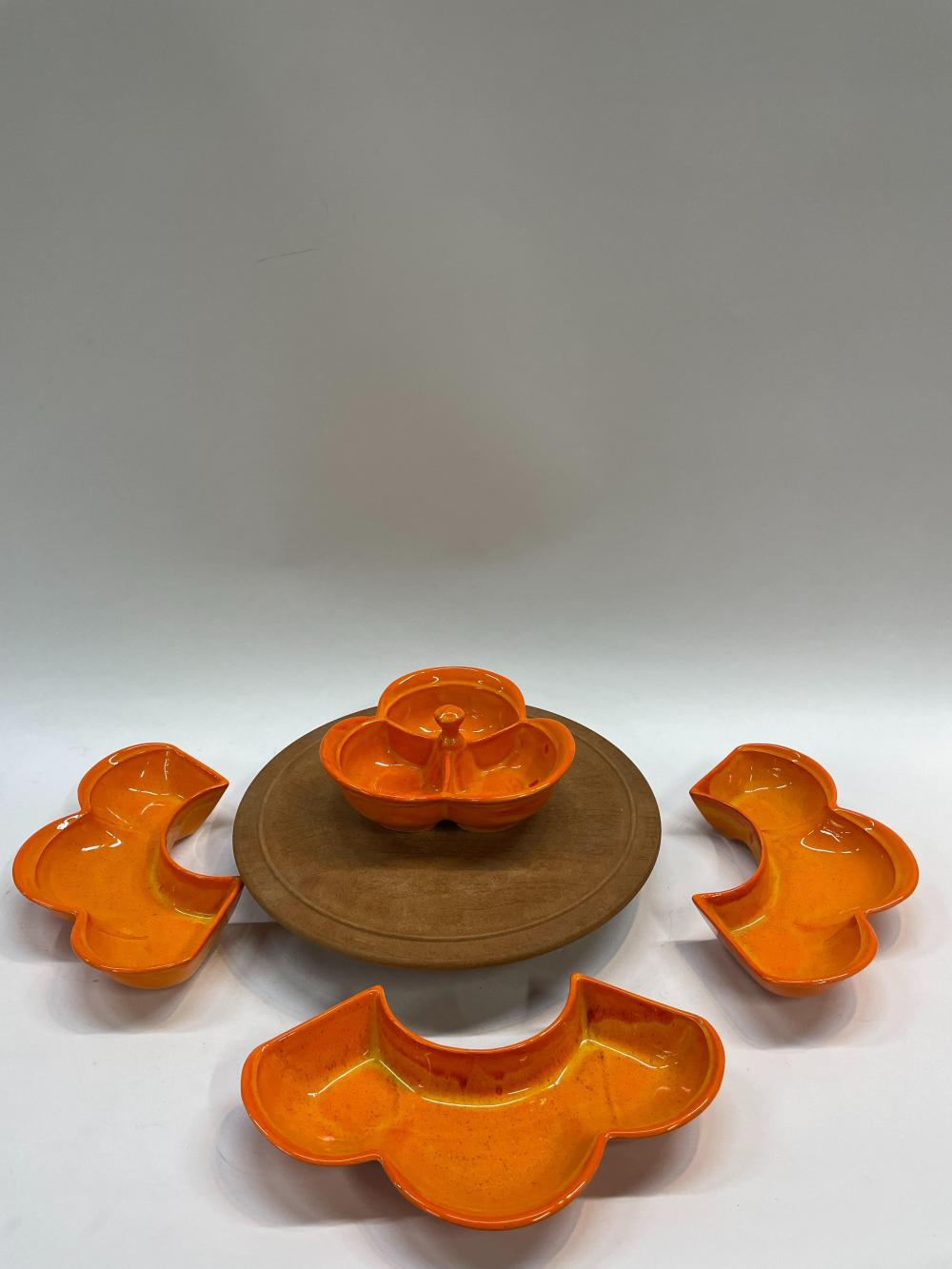 An American Mid-Century Flower Shaped Nut Dish in Four Parts with Timber Lazy Susan