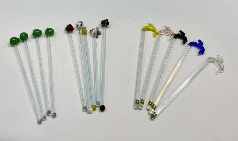 A Collection of Vintage Glass Cocktail Stirrers Incl. Olives & Faucets [14]
