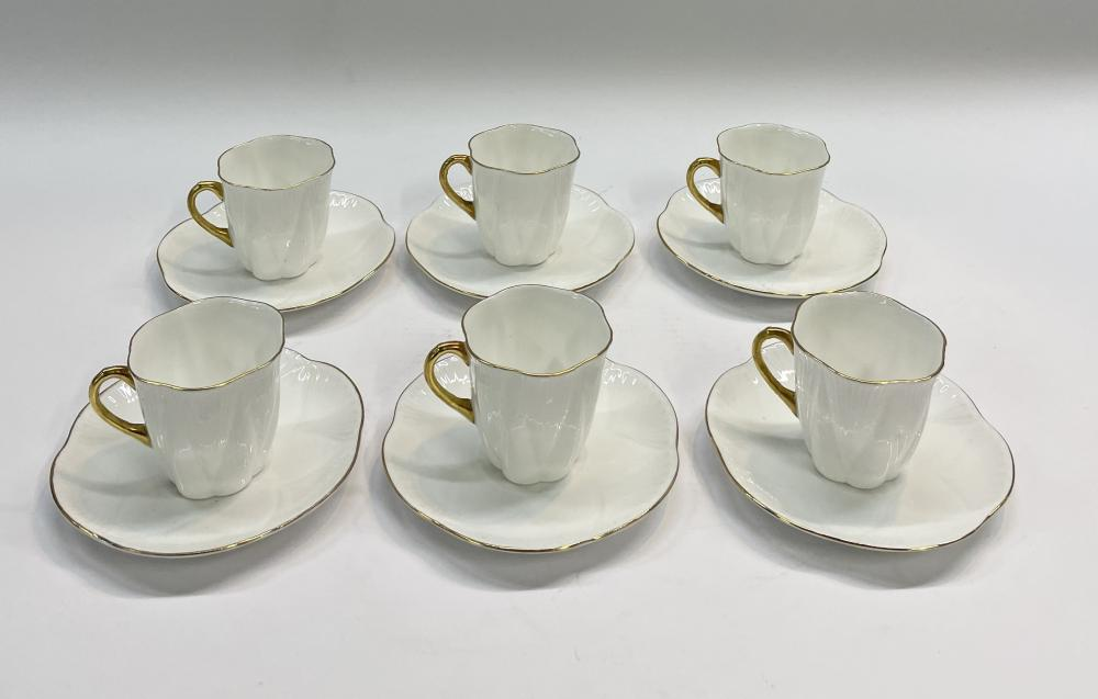 Six Shelley Demitasse Cups & Saucers with Gilt Detail