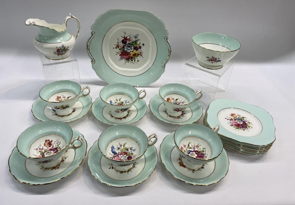 A Hammersley & Co Pink & Blue Cabbage Rose Floral Tea Service