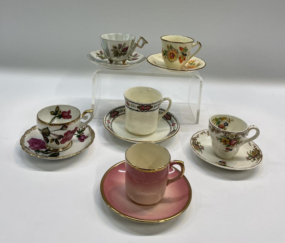 A Collection of Demitasse Coffee Cups & Saucers Incl. Grindley
