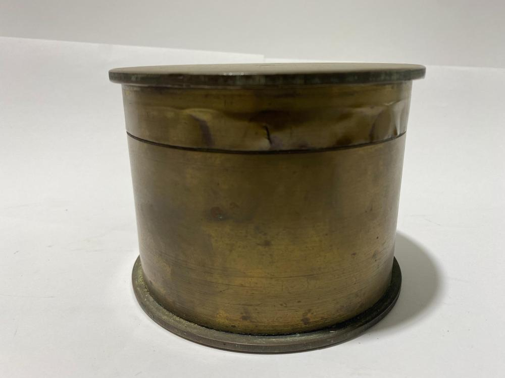 A Trench Art Container made from Two Artillery Shells marked for 7HL 27 February 1917 Maker FN Includes a 40 mm M118 Souvenir Deactivated Feb 1917