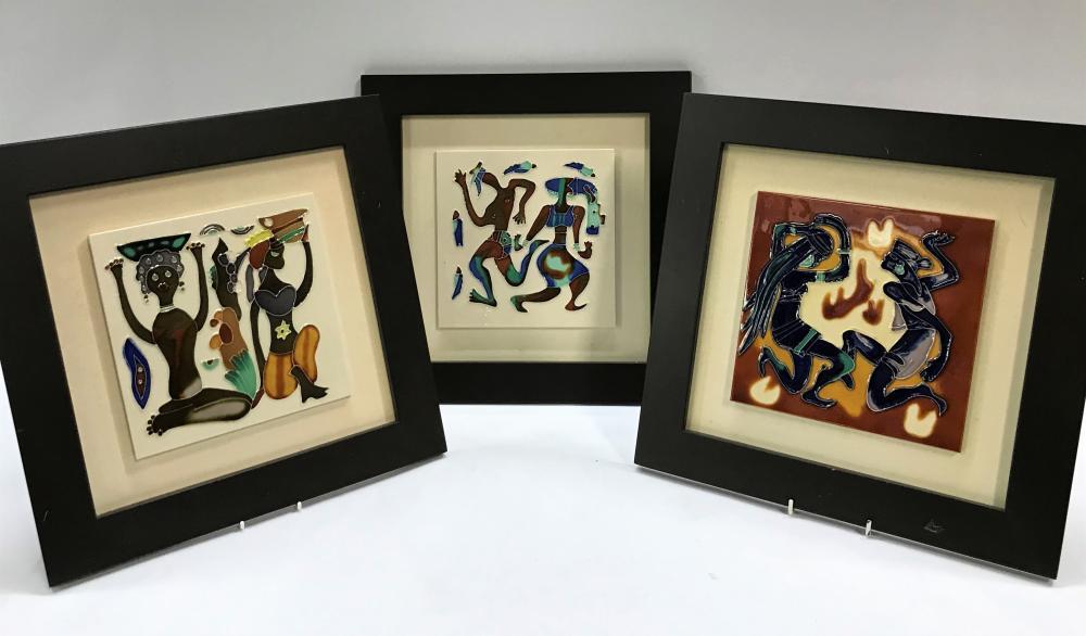 Three Framed Hand Painted Art Tiles
