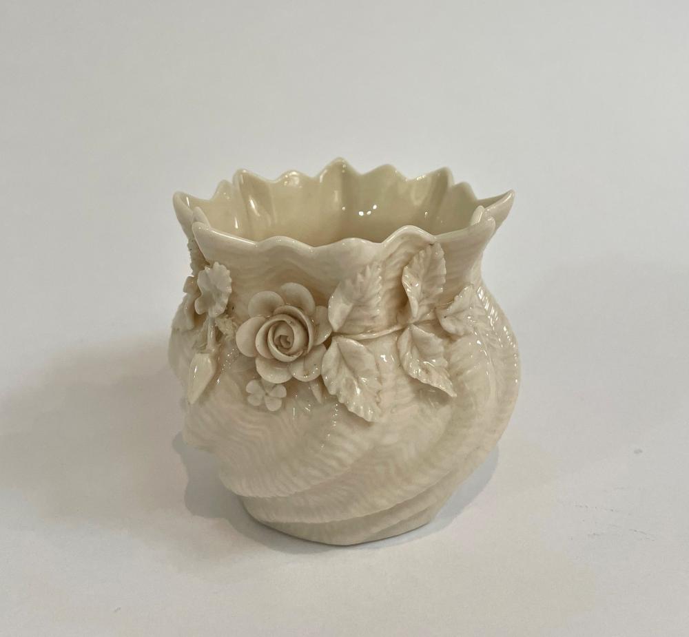 A Belleek, Ireland Bud Vase with Floral Detail