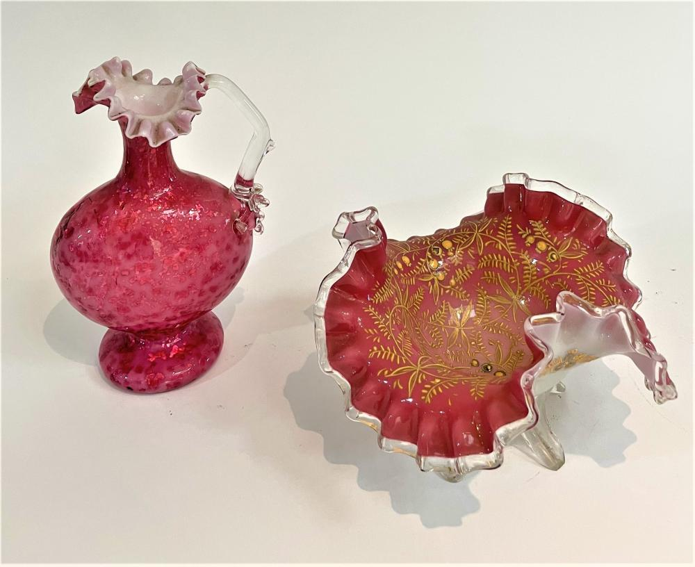 A Victorian Cranberry Glass Frill Decanter with a Bowl with Gold Fern Detail