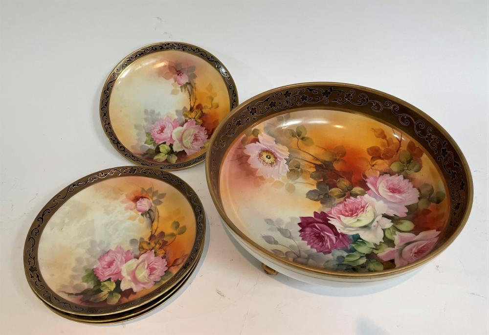 A Noritake Floral Bowl with Gilt Detail & Four Matching Plates
