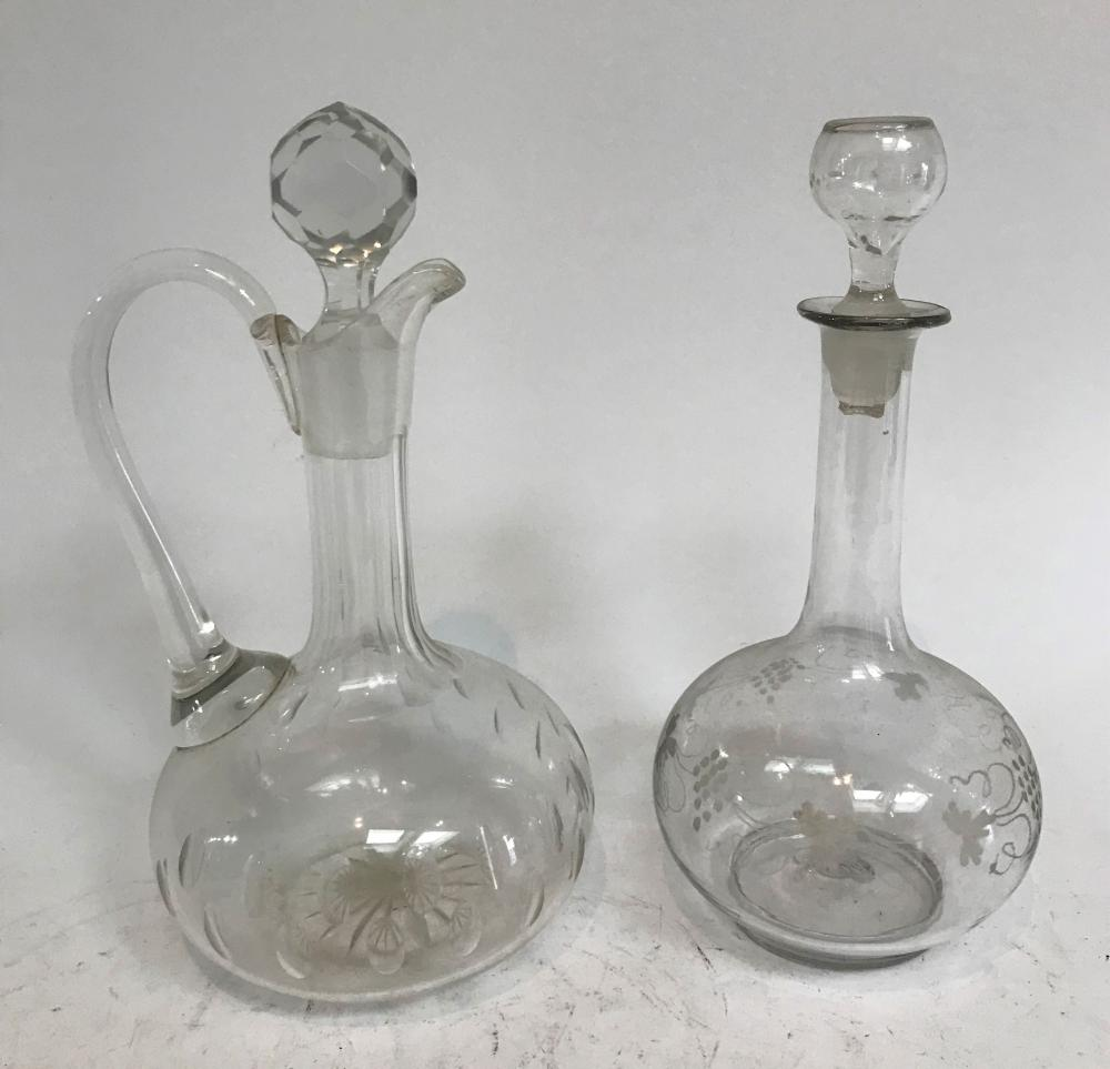 A Victorian Etched Glass Decanter & Claret Jug