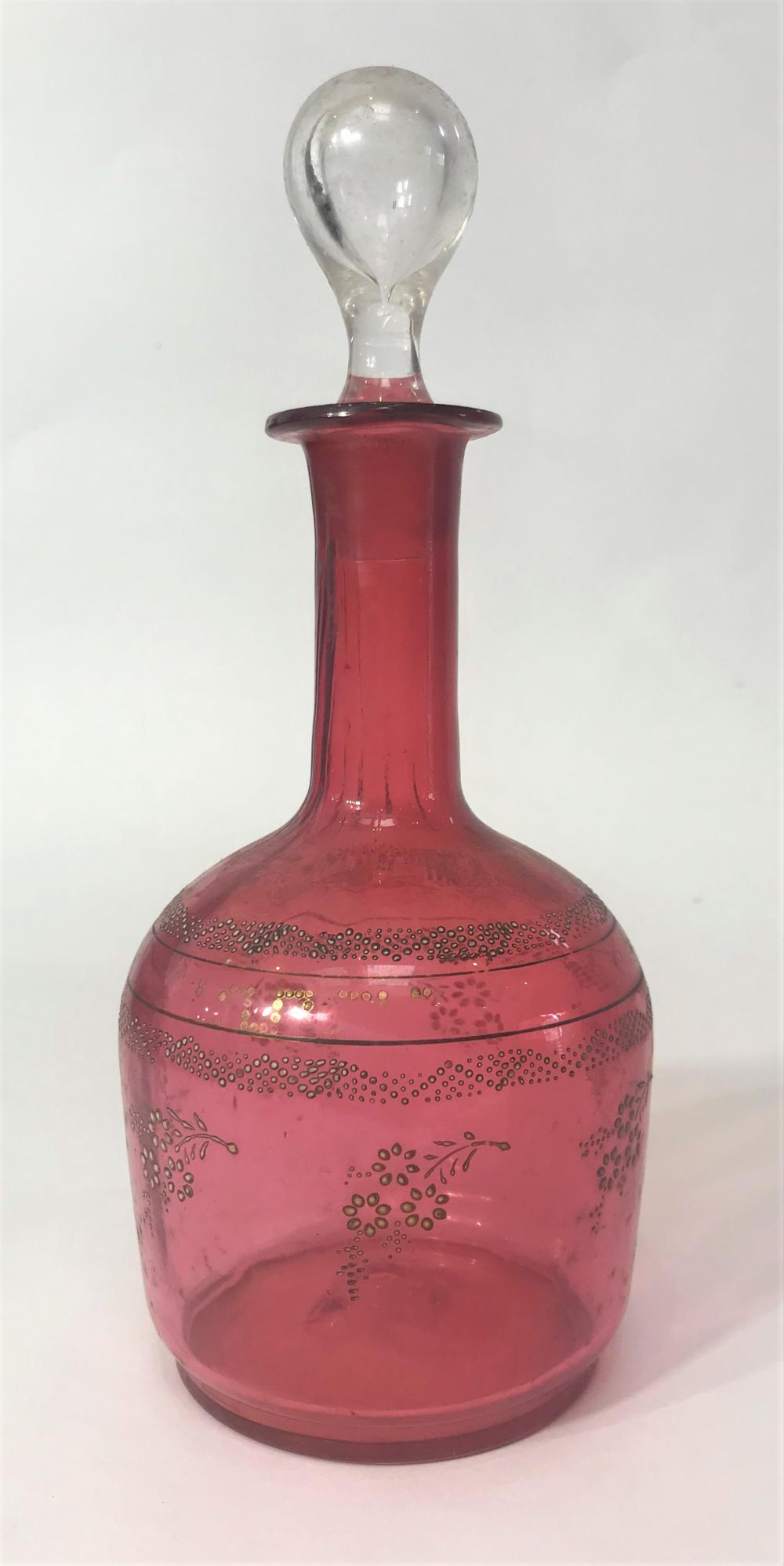 A Victorian Cranberry Glass Decanter with Etched Detail & Clear Glass Stopper