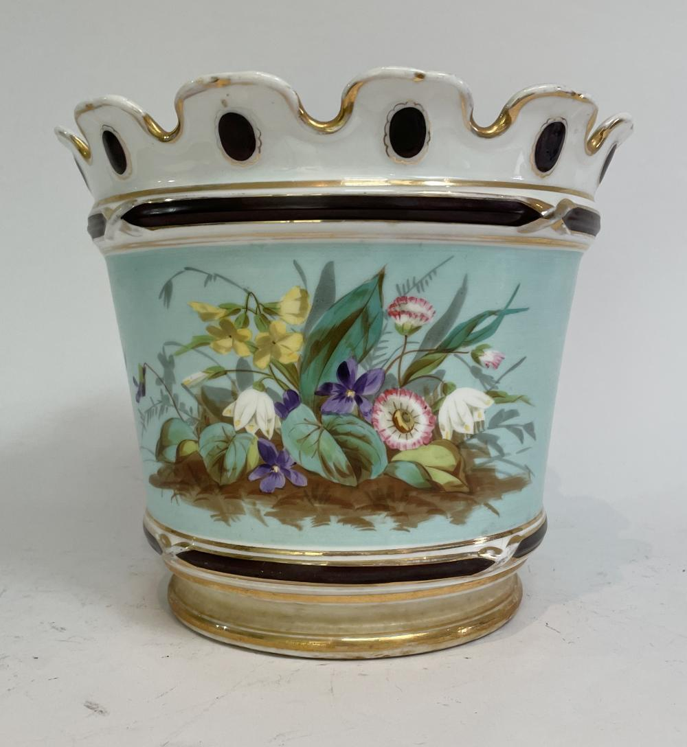 An English Ceramic Planter with Floral Detail