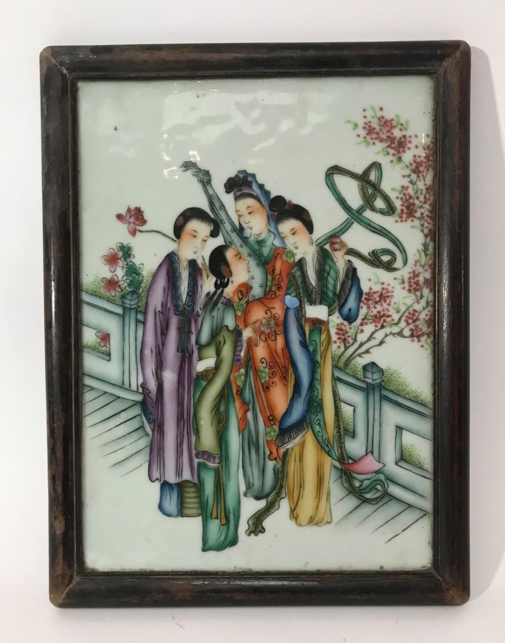 A Japanese Hand Painted Plaque