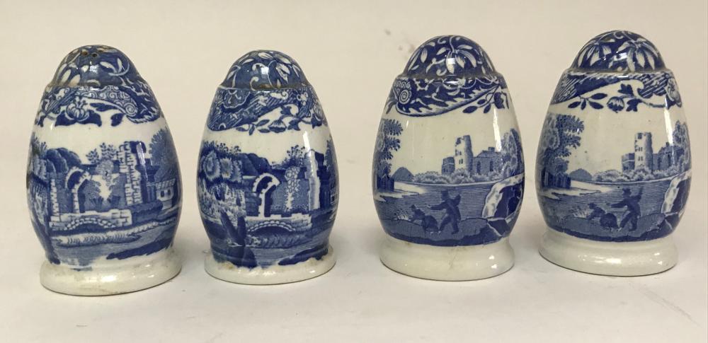 Two Copeland Spode & Two Spode Italian Blue & White Salt & Pepper Shakers