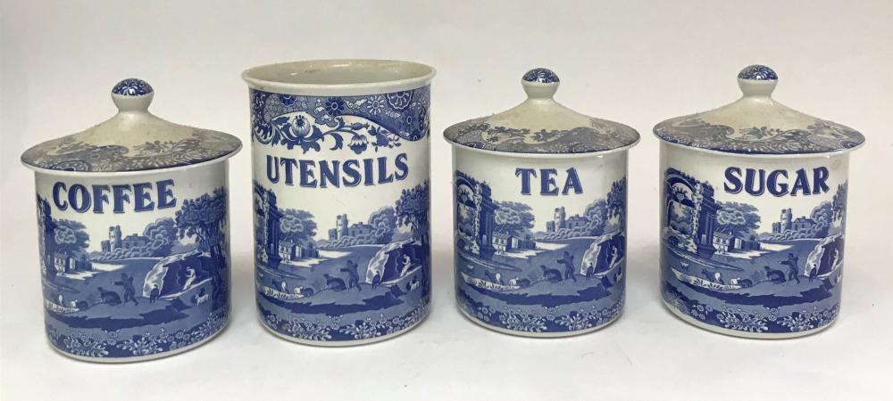 Three Spode Italian Blue & White Canisters for Tea Coffee & Sugar & a Utensils Jar