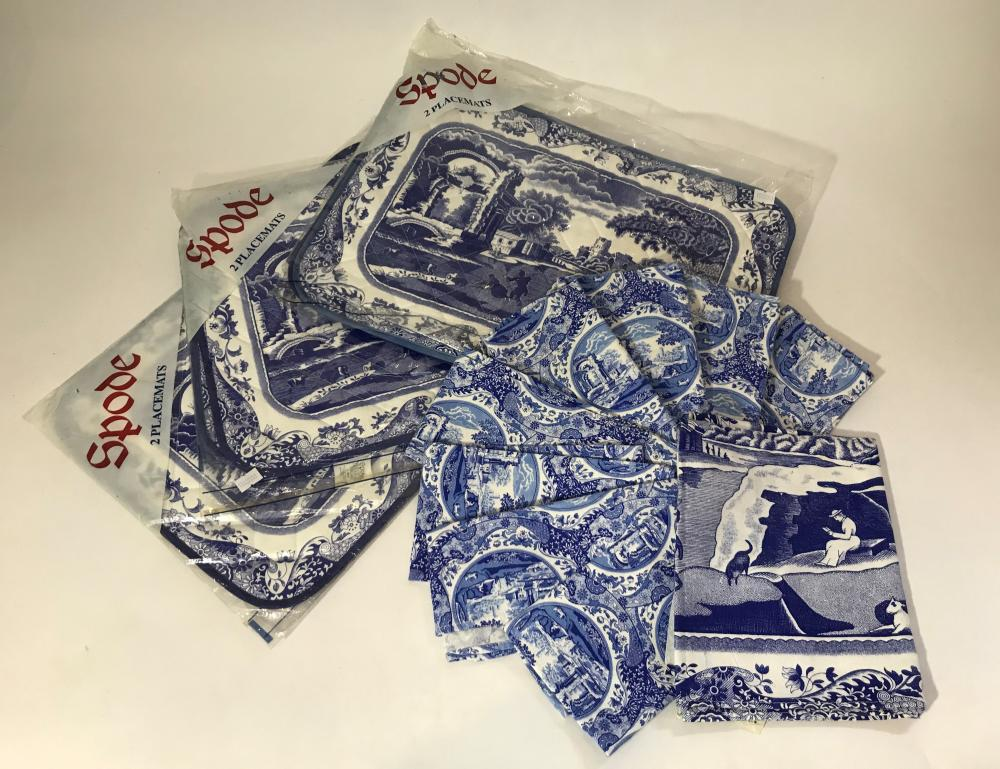 A Collection of Spode Linen including Six Placemats a Tea Towel & Eight Napkins