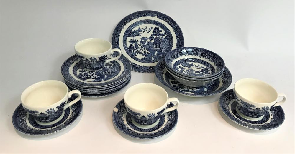A Collection of Johnson Brothers Willow Pattern Dinner & Entrée Plates