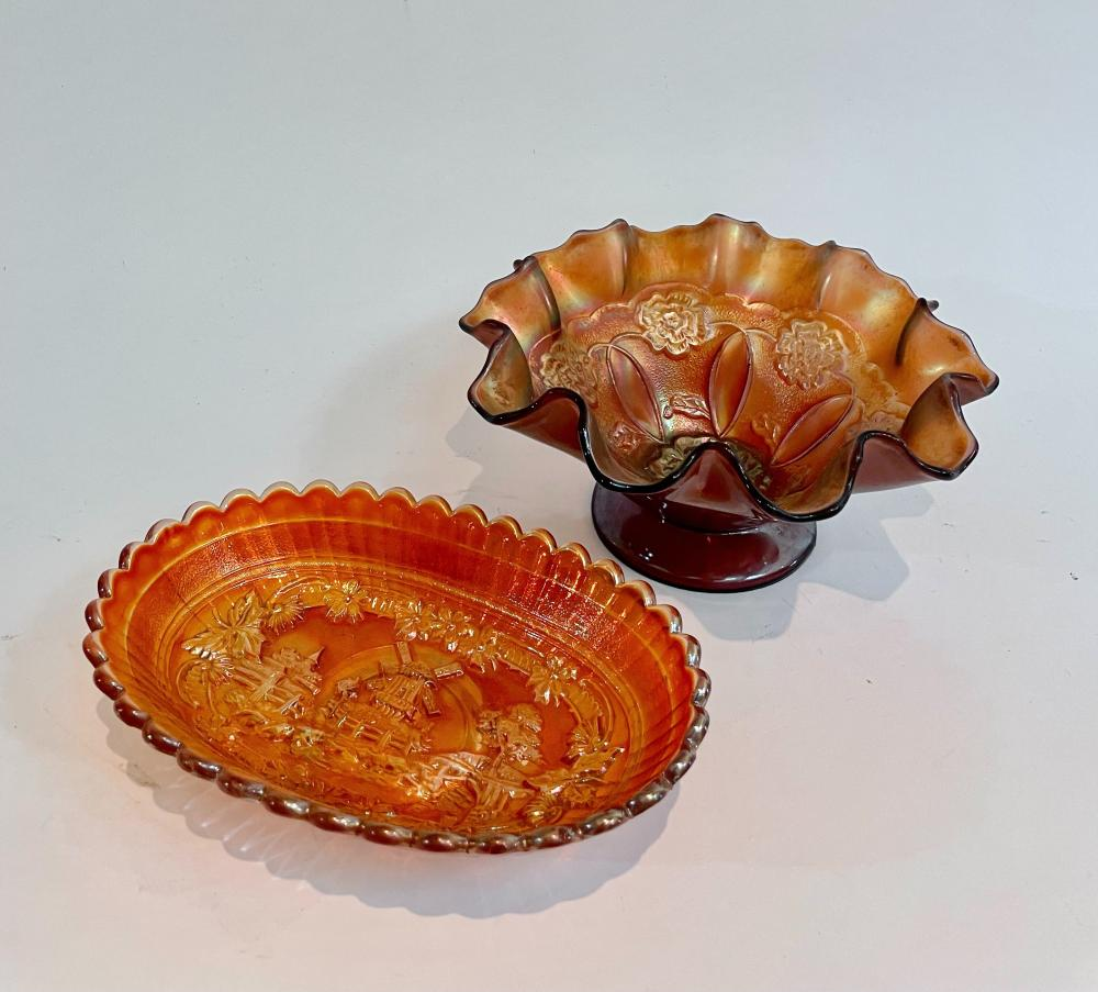 Two Carnival Glass Dishes with Impressed Floral Patterns