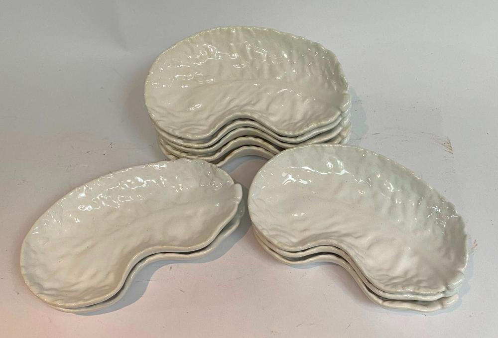 Ten White Ceramic Cabbage Leave Dishes