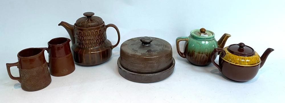 Three Teapots including Wedgwood & Gibson & Two Bendigo Pottery Jugs