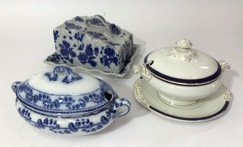 A Collection of Blue & White Lidded Tureens Including Booth's