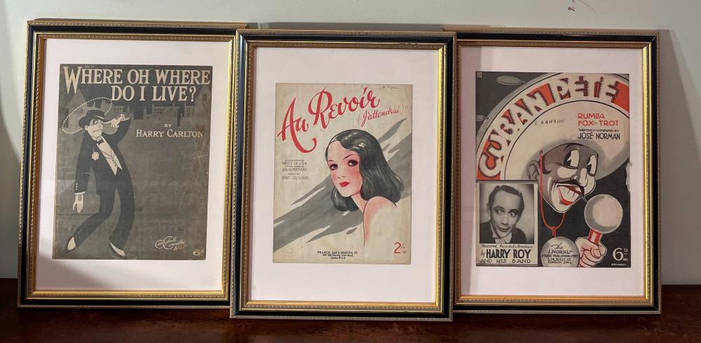 Three Framed Prints of Music Sheet Covers