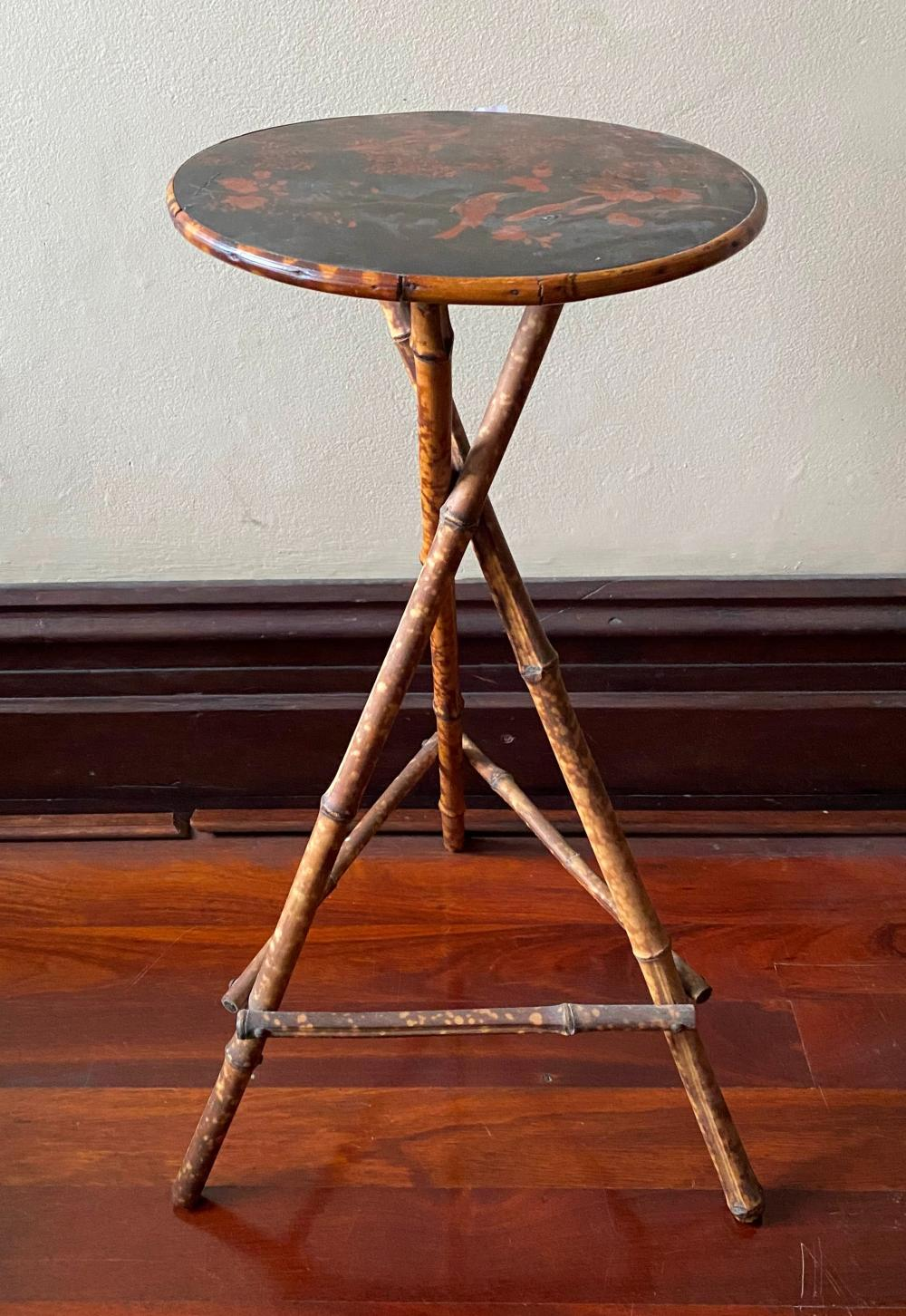 A Victorian Tiger Bamboo & Chinoiserie Side Table
