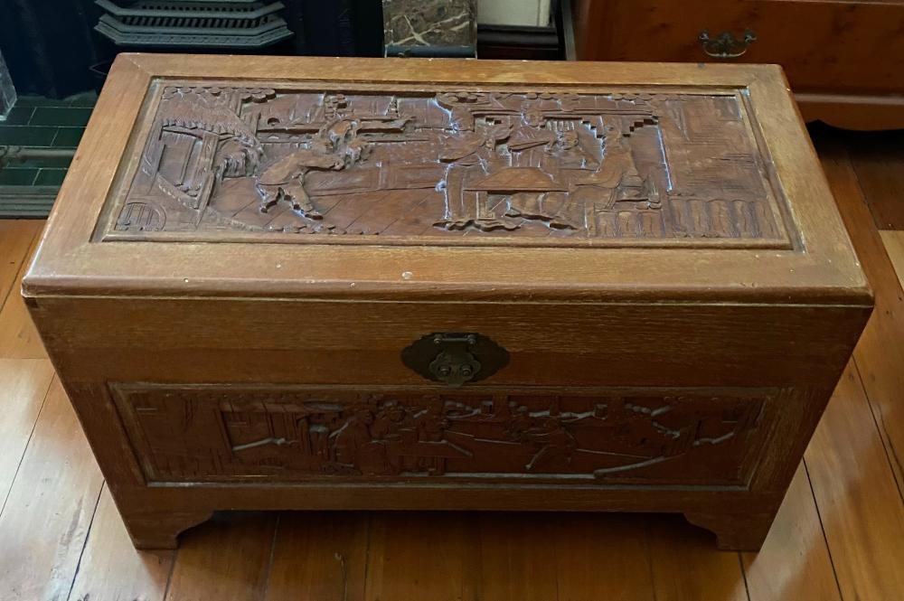 A Chinese Caved Camphor Wood Chest