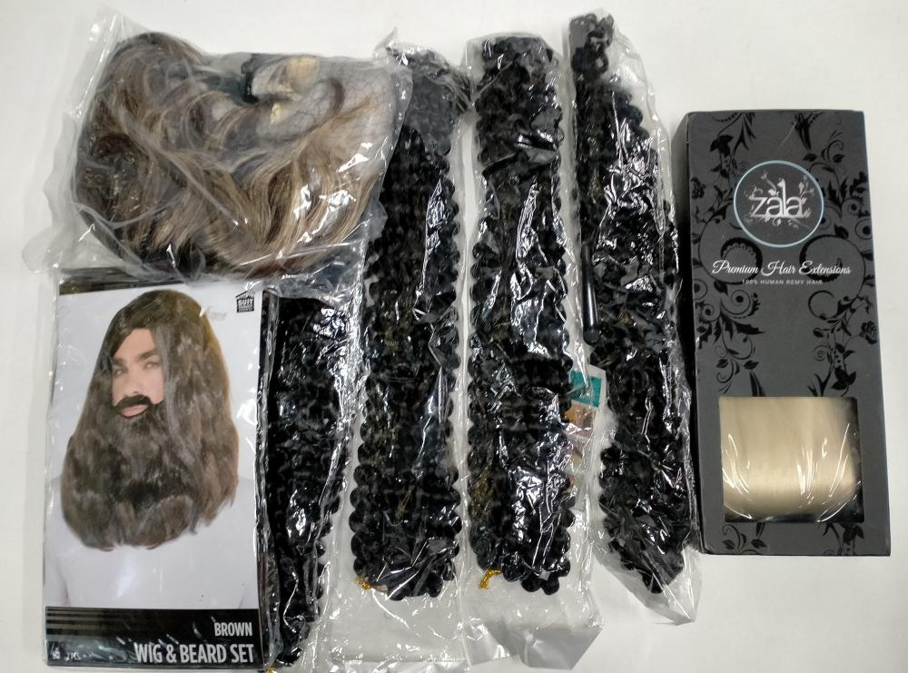 A bag of assorted wigs & extensions