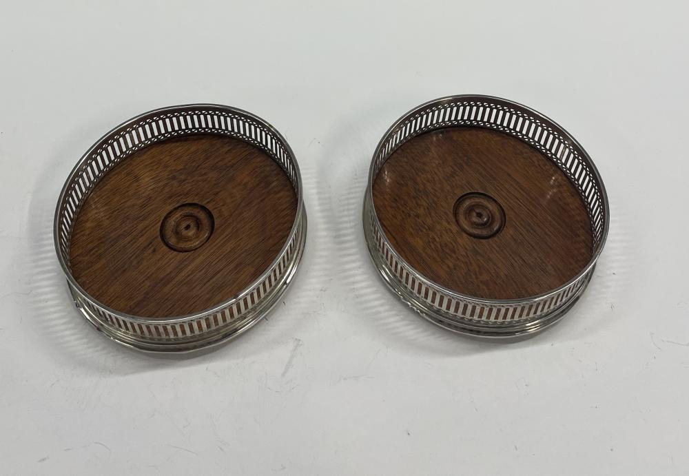 A Pair of Sterling Silver Timber Based Wine Coasters, Mills & Hersey, London, 1979