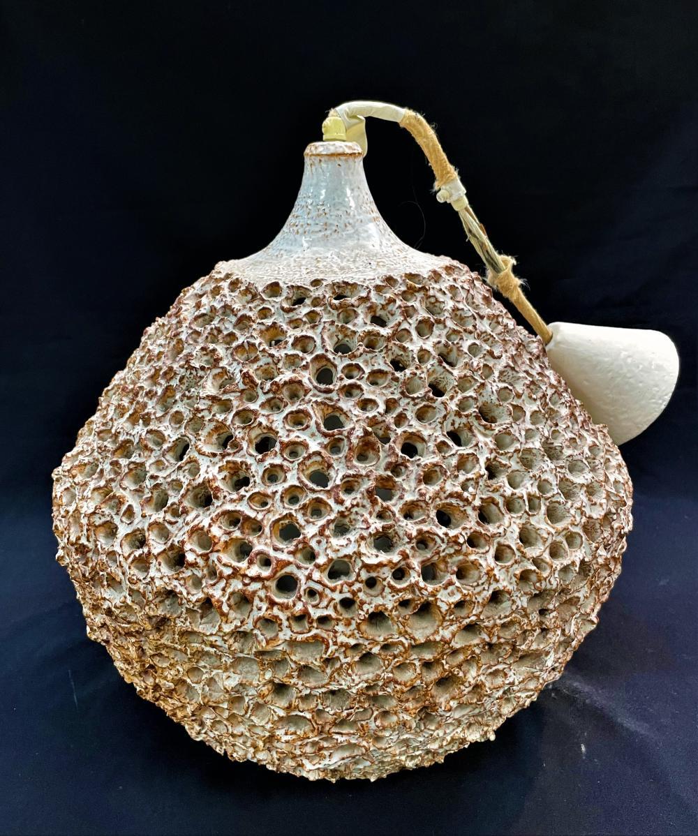 A Mid-Century Modern White & Brown Glazed Terracotta Pierced Ceiling Lamp