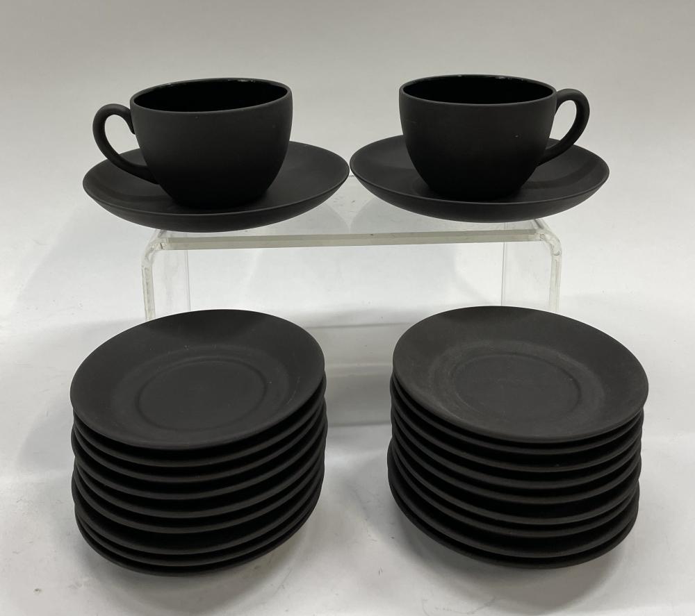 Two Wedgwood, England Basalt Cups & Saucers & Eighteen Demitasse Saucers