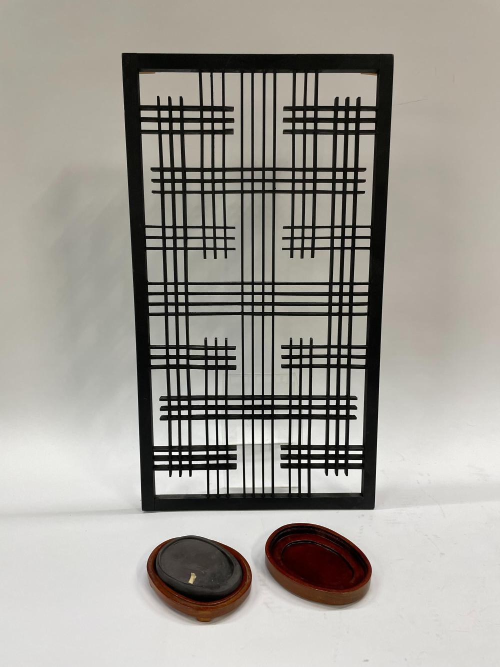 A Japanese Slate Ink Stone in a Rosewood Box & a Back Timber Wall Decoration