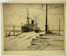 John Barclay Godson, (1882-1957), Transport Berrima, Williamstown, Etching/drypoint ed.6