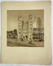 John Barclay Godson, (1882-1957), The Assembly Hall, Scots Church, Sydney, Etching/aquatint ed. Uneditioned