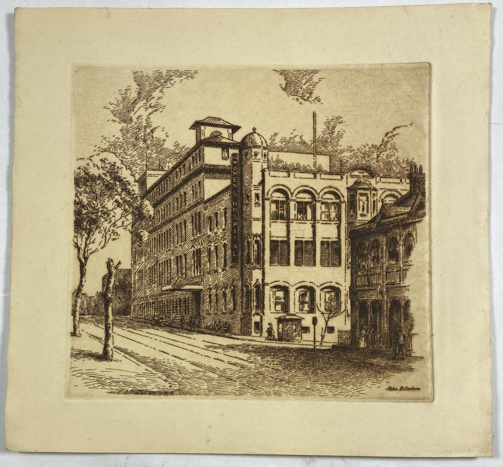 John Barclay Godson, (1882-1957), The Women's Hospital Crown Street, Sydney, Etching ed. Uneditioned