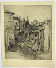 John Barclay Godson, (1882-1957), Church, Port Arthur, Tasmania, Etching ed. 8/40