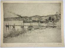 John Barclay Godson, (1882-1957), Lindisfarne, Hobart, Etching ed. 5/40