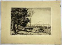 John Barclay Godson, (1882-1957), Scrivener's Mill, Mt Irvine, Blue Mountains, Etching ed. 8/50
