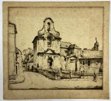 John Barclay Godson, (1882-1957), Ancienne Chapelle, Sainte-Austreberthe, Montreuil, Etching/drypoint ed. Uneditioned