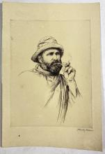 John Barclay Godson, (1882-1957), The Fisherman's Pipe, Etching ed. Uneditioned on cream paper
