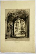 John Barclay Godson, (1882-1957), Entrance to Courtyard, Hotel de France, Montreuil, Etching/drypoint ed. 8/40