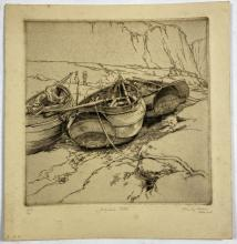 "John Barclay Godson, (1882-1957), Yorkshire ""Cobles"", Etching ed. 9/30"
