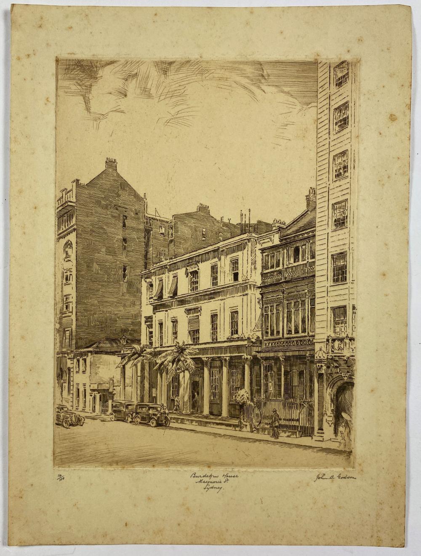 John Barclay Godson, (1882-1957), Burdekin House Macquarie Street Sydney, Etching ed.14/100