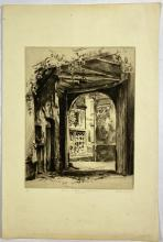 John Barclay Godson, (1882-1957), Entrance to Courtyard, Hotel de France, Montreuil, Etching/drypoint ed. 15/50